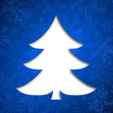 Christmas card. Illustration with christmas tree on blue background Royalty Free Stock Photo