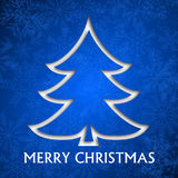 Christmas card. Illustration with christmas tree on blue background Royalty Free Stock Images