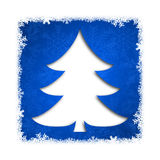 Christmas card. Illustration with christmas tree on blue background Stock Photo