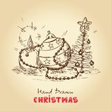 Christmas card. Christmas Hand Drawn Vector Card, For Xmas Design Royalty Free Stock Photography