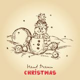 Christmas card. Christmas Hand Drawn Vector Illustration With Snowman And Christmas balls, For Xmas Design Royalty Free Stock Photography