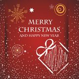 Christmas card. Vector image of christmas card with a red background with a christmas present and merry christmas text,stars Stock Photos