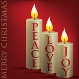 Christmas card. Merry Christmas Peace, Love, Joy candle card in vector format Royalty Free Stock Photos