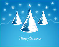Christmas card. Three christmas tree on blue background and snowflakes Royalty Free Stock Photo