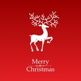 Christmas card. Vector image of christmas card with a deer in the middle and a merry christmas text royalty free illustration