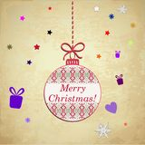 Christmas card. Vector image of christmas card with a christmas ornament in the middle and a merry christmas text vector illustration