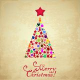 Christmas card. Vector image of christmas card with a christmas tree in the middle and a merry christmas text royalty free illustration