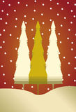 Christmas card with 3 trees and snow Royalty Free Stock Images