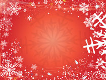 Christmas card. With snowflakes red background Royalty Free Stock Image