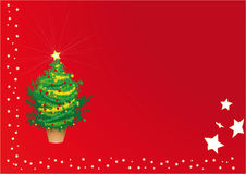 Christmas card. With a decorated tree and some stars along the borders Stock Photography