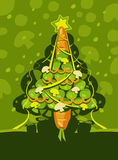 Christmas card. Vector illustration of a Christmas tree Royalty Free Stock Image