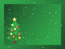 Christmas Card. Illustration green background with tree perfect for christmas greeting Stock Images