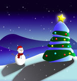 Christmas Card. Illustration. A snow-covered mountain, a snowman and a christmas tree in the night Royalty Free Stock Photo