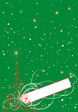 Christmas card. Vector illustration of Christmas card on the green background Stock Images