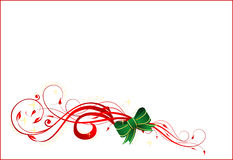 Christmas card. Vector illustration of Christmas card with ribbon on the white background Royalty Free Stock Photo