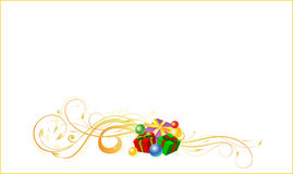 Christmas card. Vector illustration of Christmas card with gifts on the white background Stock Photo