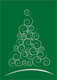 Christmas card. White Christmas Tree isolated on a green background Stock Photo