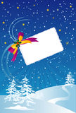 Christmas card. Vector illustration of Christmas card with stars and trees Royalty Free Stock Image