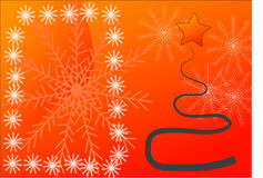 Christmas card. With tree on orange background Stock Photos