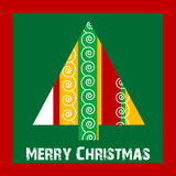 Christmas  card. Simple Christmas tree icon design Stock Photography