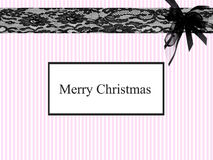 Christmas card. Christmas stationary with pink stripes and black lace and bow Stock Images