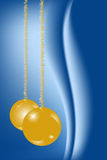 Christmas Card. With gold balls on blue background Stock Image