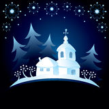 Christmas card. Decorative Christmas card with church Stock Image