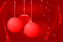Christmas card. Christmas background with balls and drape, red tones Royalty Free Stock Photo