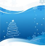Christmas card. With snowflakes and stars Stock Image