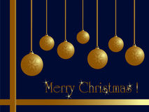 Christmas card. Golden balls on blue with ribbon Stock Images