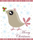 Christmas card. With little bird, holly and snowflakes Stock Image