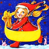Christmas Card. Baby girl with a gift and Santa costume and pink rabbits stock illustration