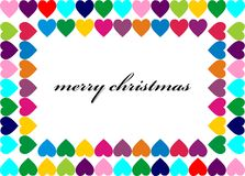 Christmas card. Framed with colorful hearts stock illustration