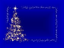 Christmas card. A Christmas tree of sparkling lights on blue background with border Stock Images