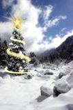 Christmas card. Christmas tree in the mountains in winter with lts of snow Stock Image