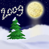 Christmas card. New year landscape.Moonlight stock illustration