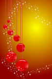 Christmas Card. With red balls and stars Royalty Free Stock Image