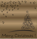 Christmas card. Christmas Tree isolated on a gold background Stock Images