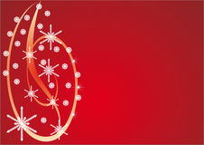 Christmas card. Abstract composition of stars and snowflakes on a red background Stock Images