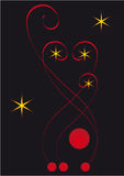 Christmas card. Abstract composition. Stars and red balls on a black background Royalty Free Stock Photos