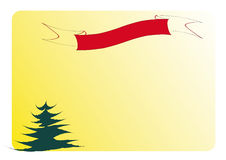 Christmas card. Red ribbon and green fir on a yellow background Stock Image