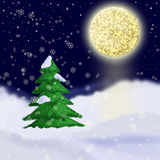 Christmas card. New year landscape.Moonlight Stock Photography