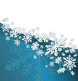 Christmas Card. Blue background with snow flakes and space for text Stock Image