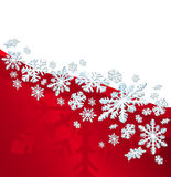 Christmas Card. Red background with snow flakes and space for text Stock Images