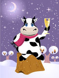 Christmas card. Vector christmas card with cow. EPS8 included stock illustration