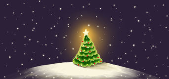 Christmas card. With a New Year tree stock illustration
