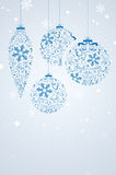 Christmas card with abstract curly christmas balls. Snowflakes and place for your text - vector illustration Royalty Free Stock Images