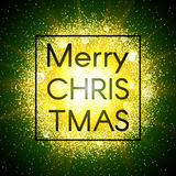 Christmas card on abstract explosion background with gold glittering elements and burst of glowing star. Dust firework Royalty Free Stock Photo