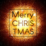 Christmas card on abstract explosion background with gold glittering elements and burst of glowing star. Dust firework Royalty Free Stock Photos