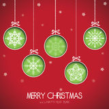 Christmas card. Abstract green Christmas balls cut from paper on red background. Vector eps10 illustration Stock Images